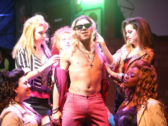 "Samuel Baron as Stacee Jaxx in ""Rock of Ages."""