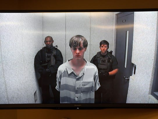 Dylann Roof appears at a bond hearing court in North