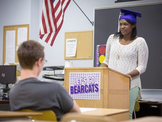 Jenny Gercilus practices her graduation speech with