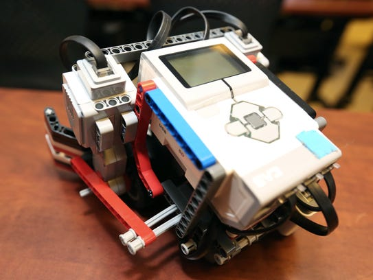 A LEGO robot built by fifth to eighth-graders were