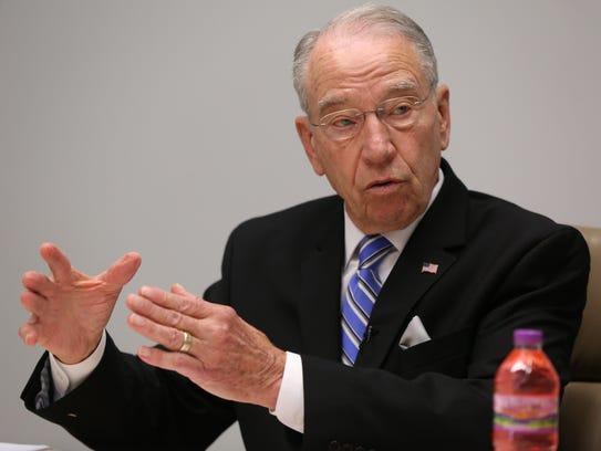 U.S. Senator Chuck Grassley talks with the Des Moines