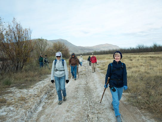 A group of hikers participating in the 50+ Hiking Program,