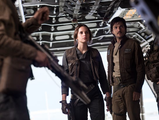 Felicity Jones and Diego Luna (right) take on a key