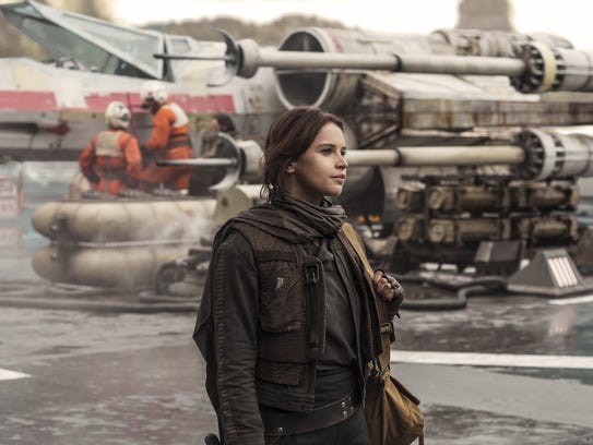 Jyn Erso (Felicity Jones) readies for action as X-Wings