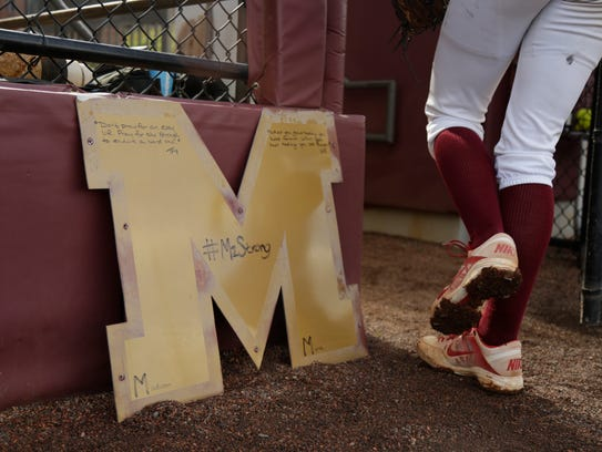 """This 'M' from the old """"Seminole Softball"""" sign above"""