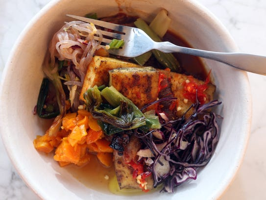 Miso noodle broth with yam noodles, winter vegetables