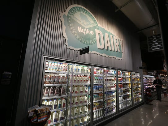 The dairy section at the new Des Moines downtown Hy-Vee