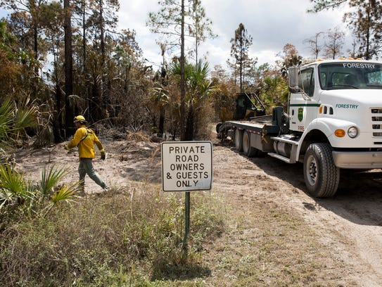 Wildland firefighters with the Florida Forest Service