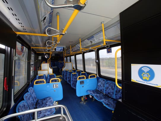 Inside one of SunLine's hydrogen fuel cell bus on April