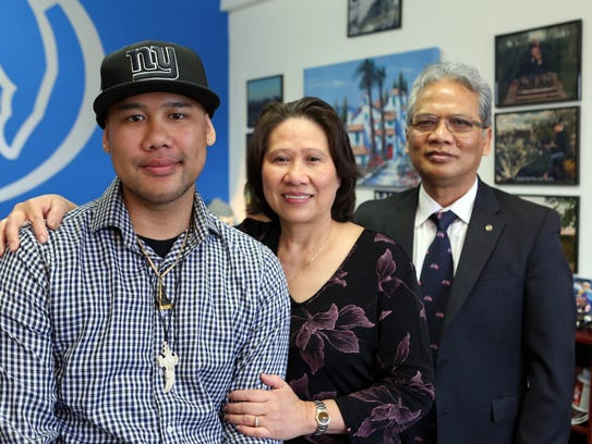 Tony Chhim with his parents Neang and Tim Chhim April
