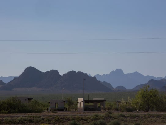 The Doña Ana Mountains are seen in the foreground and