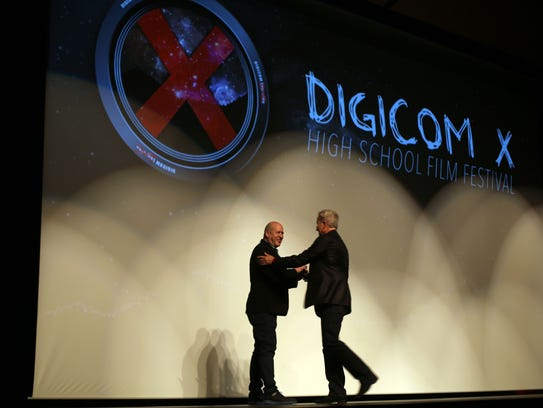 Young film makers and their parents attend the Digicom