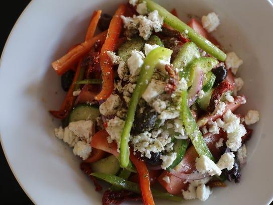 The Greek Salad at Evzin Mediterranean Restaurant in