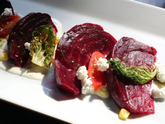 Roasted beets with lavender creme fraiche, goat cheese
