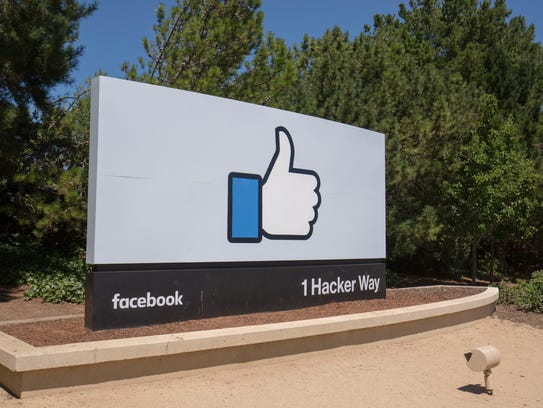 Facebook headquarters logo in Menlo Park, Calif. on