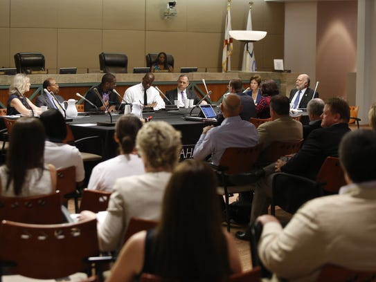 The CRA board met earlier this year at City Hall to consider, among other things, a proposal to phase out the downtown redevelopment district.
