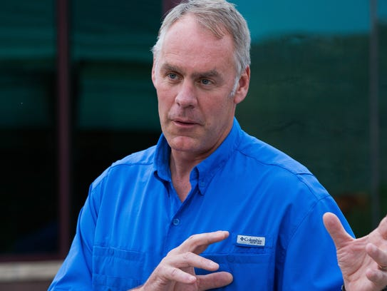 Ryan Zinke, the Secretary of the Interior, gave a press
