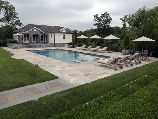 The pool and pool house at this $10 million dollar