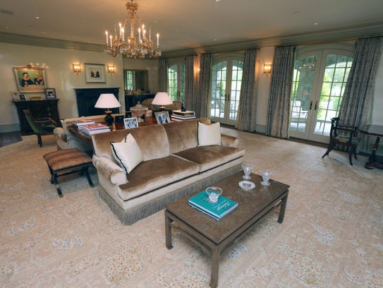 A living room in this $10 million dollar home on the