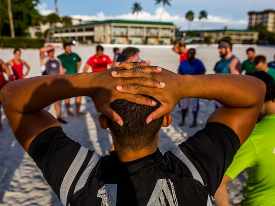 The Naples Hammerheads Rugby Club practices on Fort