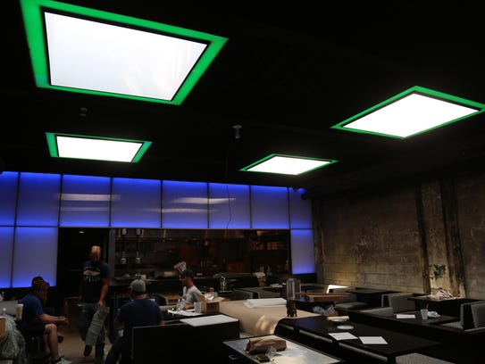 The skylights in the main dining room at Corktown's