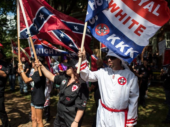 CHARLOTTESVILLE, VA - JULY 08: The Ku Klux Klan protests