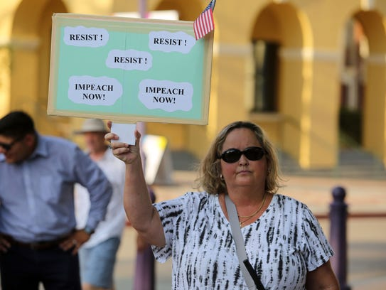 Allison Gillespie, of Indio, attends a Democratic resistance