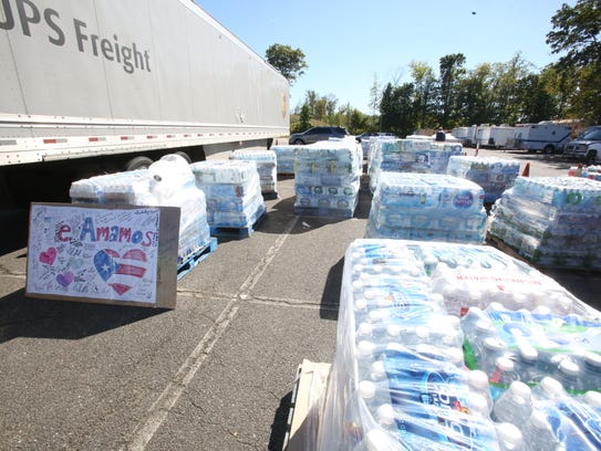 Donated water that has been collected by Rockland County