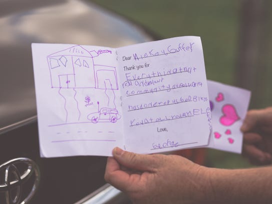 A handmade card addressed to Black Mountain police