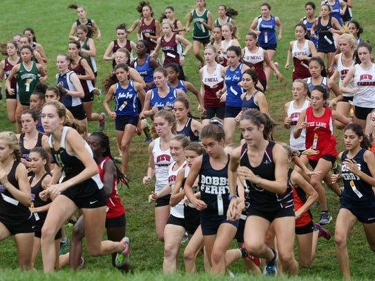 The start of the girls Varsity 2 race during the annual