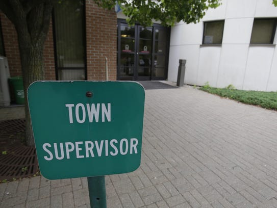 Parking signs for the Ramapo Town Supervisor at the