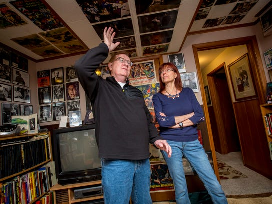 For 45 years Richard Klemensen has produced Little Shoppe of Horrors magazine, The Journal of Classic British Horror Films, shown here with his wife Nancy Emdia Tuesday, Oct. 24, 2017, at his home office with hundreds of magazine covers and signed publicity stills in Des Moines, Iowa.