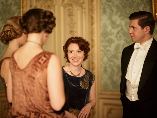 Daisy Lewis (L) as Miss Sarah Bunting and Allen Leech