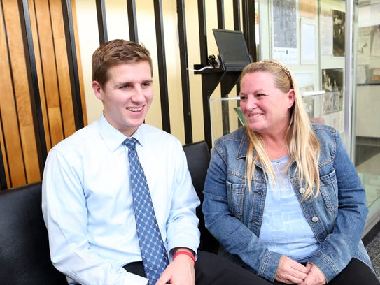 Liam Russell, 22, of Blauvelt and his mother, Noreen