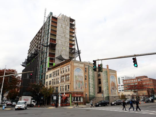 A view of the construction of 49 Main St. a new RXR