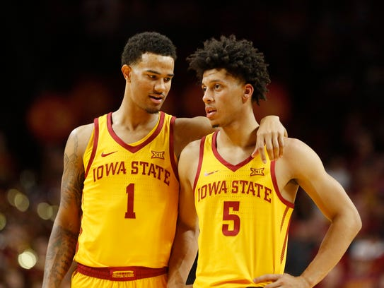 Iowa State guard Nick Weiler-Babb (1) talks with Lindell Wigginton (5) during their game against Milwaukee last Monday. Weiler-Babb's increased ball-handling role has free up other Cyclone guards and wings to score more.