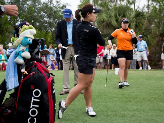 LPGA tour professionals and sisters Moriya, left, and