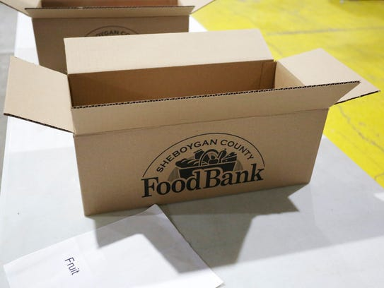 A box that will go to a Sheboygan County Food Bank,