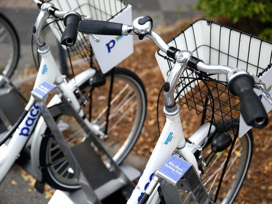 Pace bikes parked in front of City Hall Monday. The