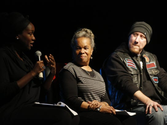 Panelists Cynthia Williams and Sean Doughtie at the Village Square's  Created Equal event Tuesday.
