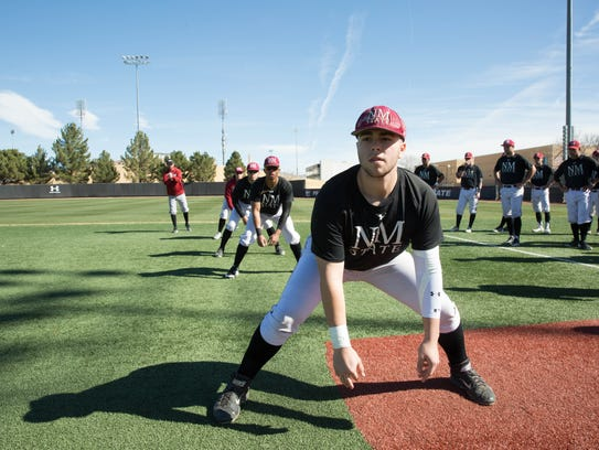 New Mexico State first baseman Cooper Williams and the Aggies open the 2018 season at home against Towson on Feb. 16.