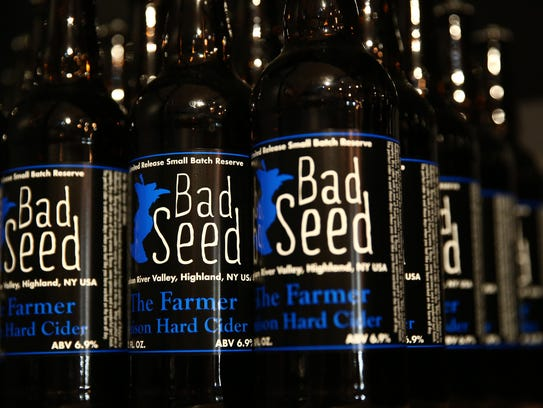 Bottles of Bad Seed Cider at their tap room in Highland