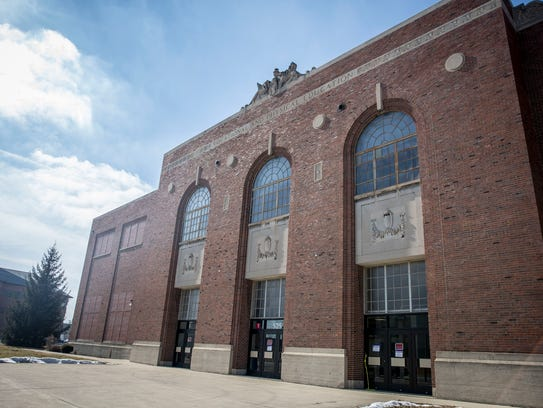 The west end of the Muncie Fieldhouse suffered the