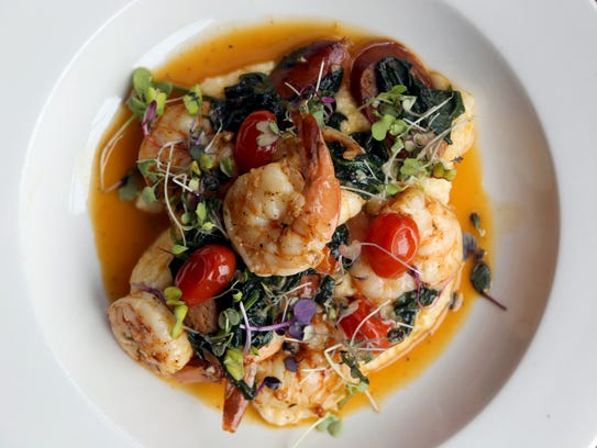 Shrimp with grits and blistered tomatoes, Andouille