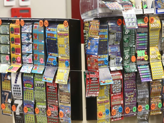A variety of scratch off lottery tickets at the Stewarts