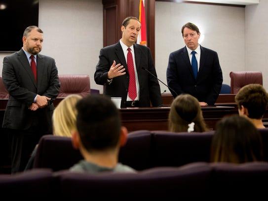 Florida state Sen. Rob Bradley, from left, Senate President