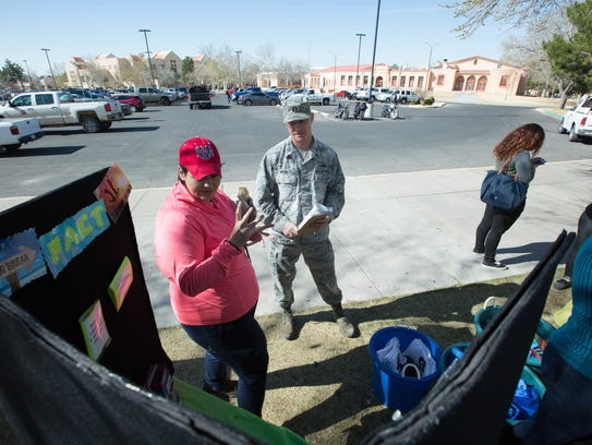 Michael Vetri, an ROTC instructor at New Mexico State University plays a game of Fact or Myth at the Wellness, Alcoholand Violence Education Program.