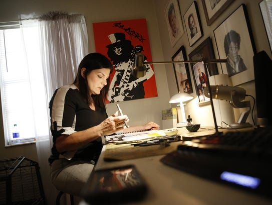 Kollet Probst works in her home studio Friday, March