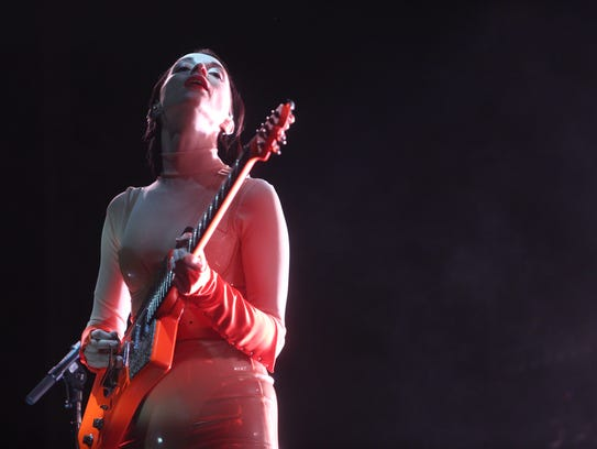 St. Vincent perform on the Outdoors Stage at the Coachella