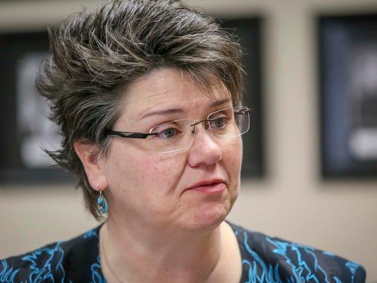 Carolann Jensen, interim director of the Iowa Finance Authority, shown Friday, April 27, 2018, in Des Moines, Iowa.
